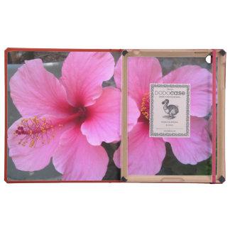 Flores rosadas del hibisco iPad coberturas