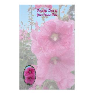Flores rosadas del hibisco papeleria personalizada