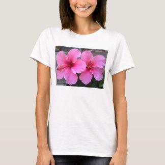 Flores rosadas del hibisco playera