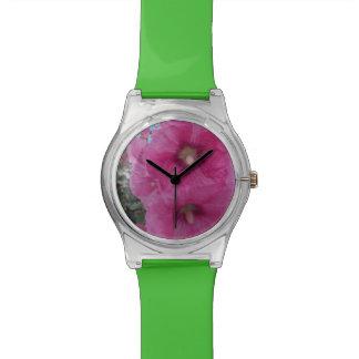Flores rosadas del hibisco reloj de mano