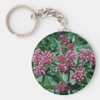 Flores rosadas del Milkweed de pantano (Asclepias  Llavero Redondo Tipo Pin