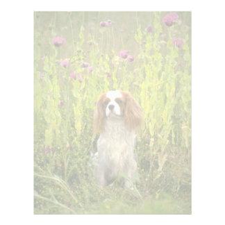 Flores rosadas del perro de aguas plantilla de membrete