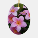 Flores rosadas del Plumeria de Hawaii Ornamento Para Arbol De Navidad