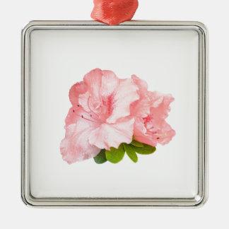 flores rosadas del rododendro adorno navideño cuadrado de metal