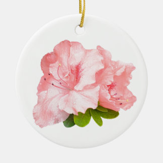 flores rosadas del rododendro adorno navideño redondo de cerámica