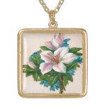 Flores rosadas del vintage, cumpleaños de la abuel joyerias personalizadas