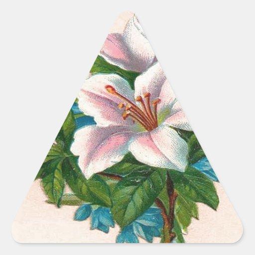 Flores rosadas del vintage, cumpleaños de la pegatina triangular