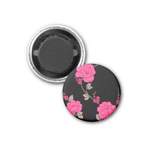Flores rosadas del vintage imanes para frigoríficos