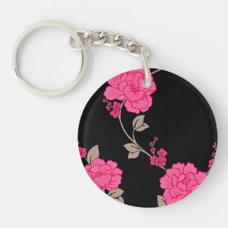 Flores rosadas del vintage llavero redondo acrílico a doble cara