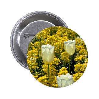 Flores rosadas del Wallflower y de los tulipanes Pin