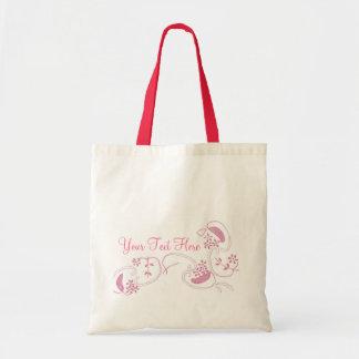 Flores rosadas en blanco bolsas lienzo