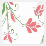 Flores rosadas en blanco calcomanías cuadradas