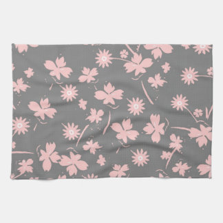 Flores rosadas en gris toalla de cocina