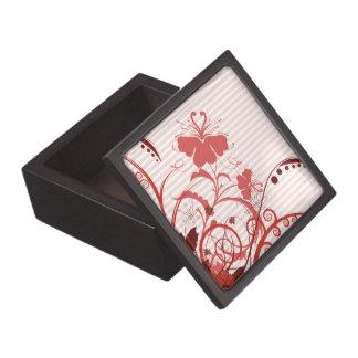 Flores rosadas en rayas caja de joyas de calidad
