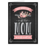 Flores rosadas en tarjeta del día de madre de la