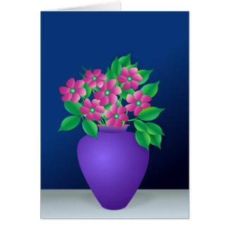 Flores rosadas en un florero tarjeta de felicitación