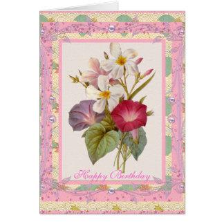 Flores rosadas florales del vintage del saludo de