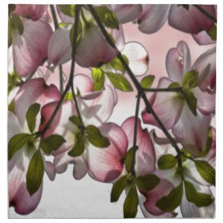 Flores rosadas grandes del Dogwood Servilletas Imprimidas