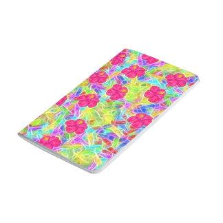 Flores rosadas hawaianas cuadernos grapados