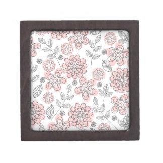 Flores rosadas hermosas caja de joyas de calidad
