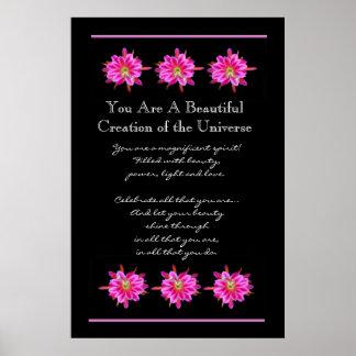 Flores rosadas hermosas de la inspiración posters