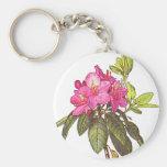 Flores rosadas hermosas llavero personalizado