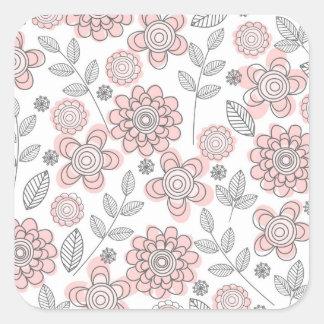 Flores rosadas hermosas pegatinas cuadradas personalizadas