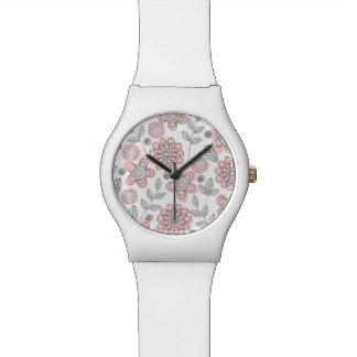 Flores rosadas hermosas relojes de pulsera