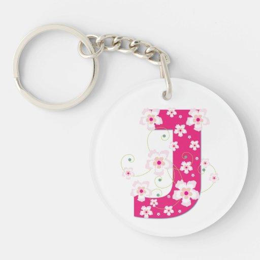 Flores rosadas iniciales del hibisco de la letra J Llavero