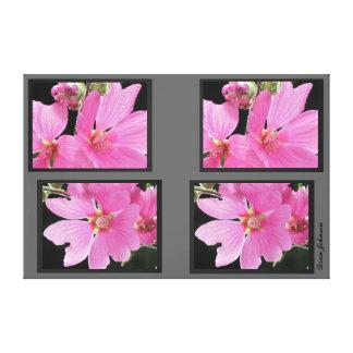 Flores rosadas impresión en lona estirada