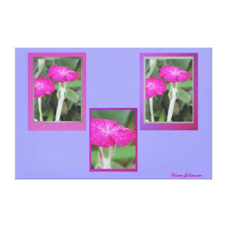Flores rosadas impresión en lienzo estirada