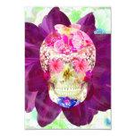 Flores rosadas lindas del trullo del cráneo floral invitación 8,9 x 12,7 cm