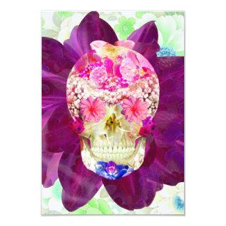 """Flores rosadas lindas del trullo del cráneo floral invitación 3.5"""" x 5"""""""