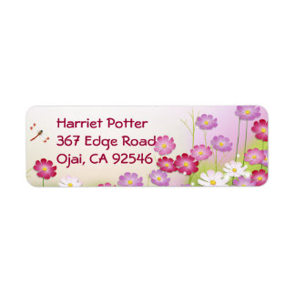 Flores rosadas lindas, libélulas etiqueta de remite