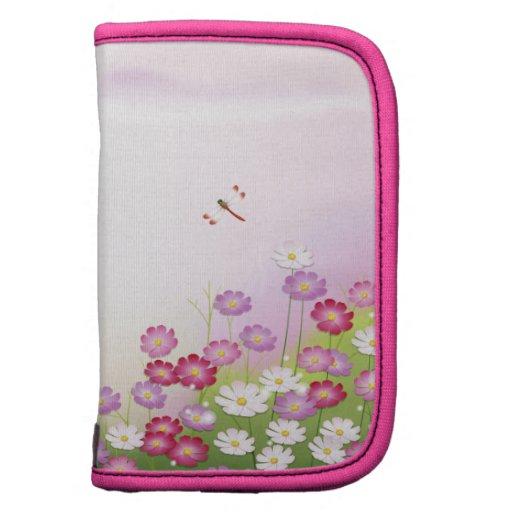 Flores rosadas lindas, libélulas planificador