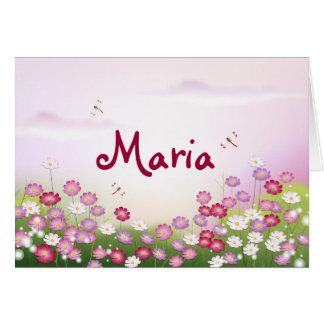 Flores rosadas lindas, libélulas felicitaciones