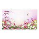 Flores rosadas lindas, libélulas tarjetas de visita