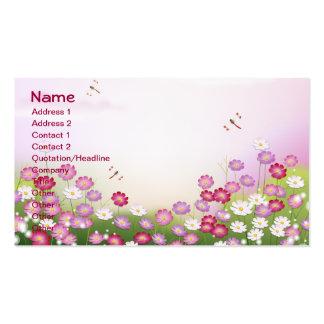 Flores rosadas lindas libélulas tarjetas de visita