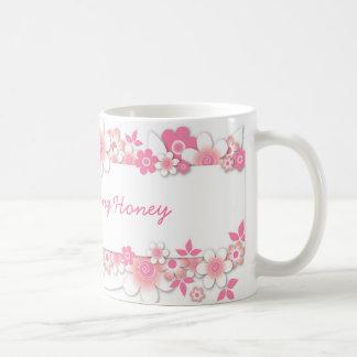 Flores rosadas miel de la buena mañana tazas
