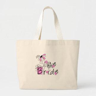 Flores rosadas/negras la novia bolsa