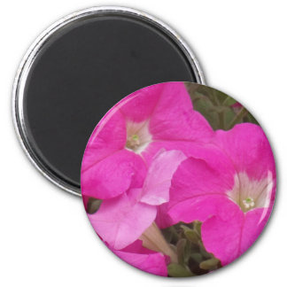 Flores rosadas oscuras imán redondo 5 cm