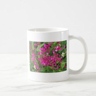 Flores rosadas oscuras minúsculas tazas