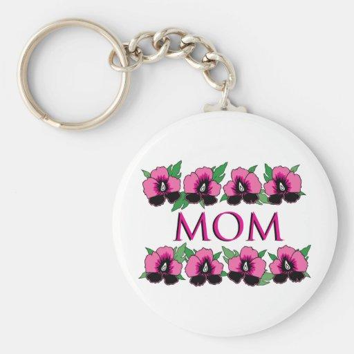 Flores rosadas para la mamá llavero personalizado