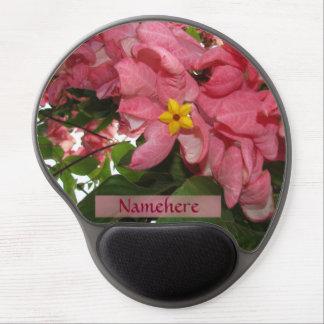 ¡Flores rosadas! ¡Personalizado! ¡Flor amarilla de Alfombrilla Gel