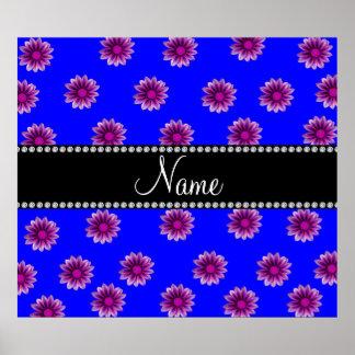 Flores rosadas púrpuras azules de neón conocidas p impresiones