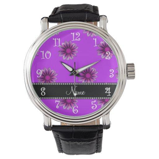 Flores rosadas púrpuras de neón conocidas reloj de mano