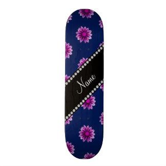 Flores rosadas púrpuras personalizadas de los azul patines