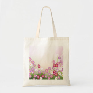 Flores rosadas, púrpuras y blancas bolsa tela barata