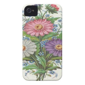 Flores rosadas, púrpuras y blancas iPhone 4 cárcasa