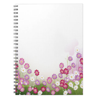 Flores rosadas púrpuras y blancas libreta espiral